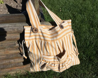 Red and white striped fabric bag
