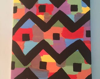 Colorful Hand Painted Canvas with Black Lines
