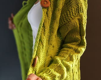 Green Hand Knitted Long Cardigan with Big Wooden Buttons