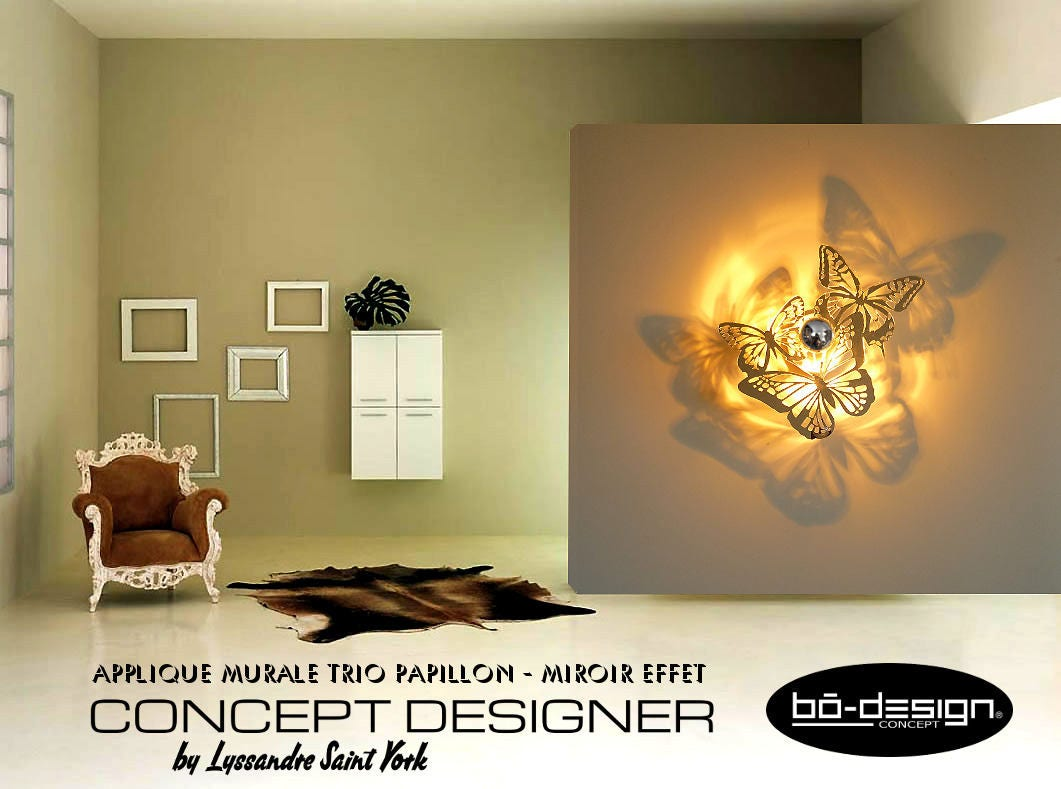 luminaire design papillons 35 42 50 55 cm miroirapplique. Black Bedroom Furniture Sets. Home Design Ideas