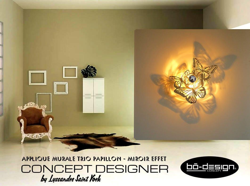 Luminaire design papillons 35 42 50 55 cm miroirapplique for Luminaire interieur design