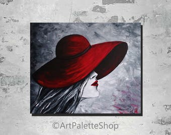 Lady in red Hat painting Black and white painting Romantic girl Wall art Acrylic painting Red lipstick Contemporary art Valentine's day