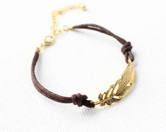 Brown cord with Gold feather bracelet