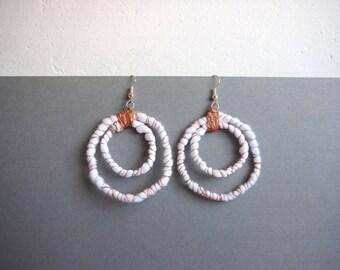 double hoop earrings white and copper earrings