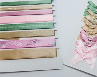 8 satin ribbons and 10 in the colors of pink and green satin bows