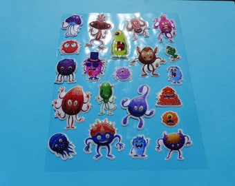 sheet of 21 monsters glittery fabric effect embossed puffy stickers