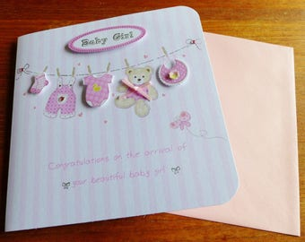 baby girl congratulations with envelope 3D greeting card