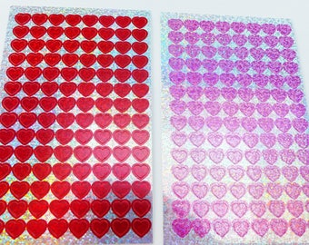 2 boards 224 holographic red and pink heart stickers