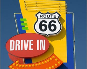 POSTER wall DECO * DRIVE IN - ROUTE 66 * 30 cm x 24 cm