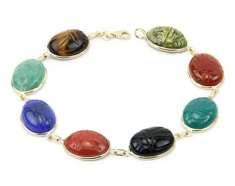 14k Yellow Gold Handmade Scarab Bracelet With Large Oval Shape Gemstones