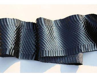 Genuine black leather snake skin