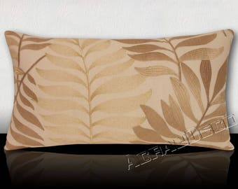Sumptuous pillow - embroidered-Bronze/gold fins on ivory background.