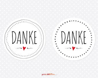 24x Thank you sticker black and white with red heart