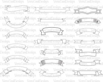Banner svg file/Banner svg/Banner Clipart/Banner SVG Ribbon SVG Outline Files for Cricut Silhouette Laser Cut Engraved svg dxf png eps files