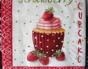 """Strawberry cupcake"" paper towel, 33 x 33, sold by 3, for collage"