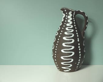 Vintage ceramic vase 50s 60s black and white
