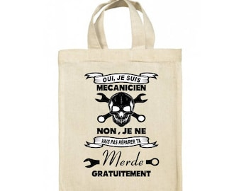 Tote Bag shopping bag mechanic skull 100% cotton printed in France StickMarquage