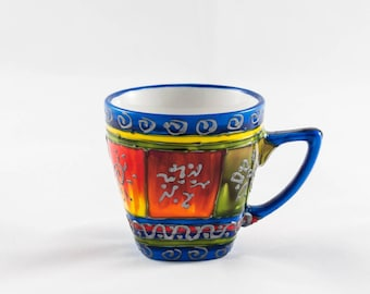 Blue and shades of colors hand painted 10 cl porcelain coffee mug