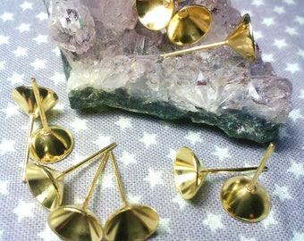"x 10 stem Bowl ""stud"" for pearls or rhinestones 8 mm in diameter"