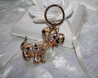 rhinestone Dalmatian bag charm Keyring