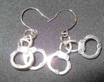 CUFF LUCK!  Silver-Toned Handcuff Earrings