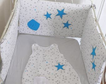 Round bed patterned stars embroidered bed of babies and children.