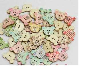 Set of 10 Teddy bear head - 2 holes wood buttons - 200mm
