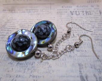 paua shell saturn earrings