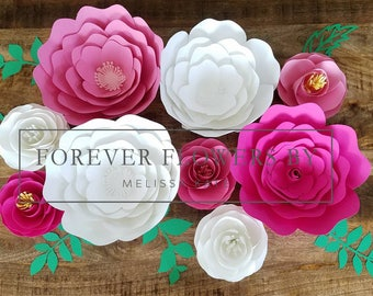 Aurora Set: Large Customizable Paper Flower Backdrop Display (9 flowers) Perfect for a party, event or decor.