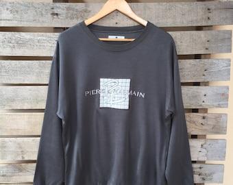 Vintage Pierre Balmain Sweatshirt Big Logo Jumper Pullover Embroidered 90s Rare Item