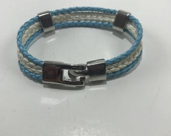 Four Strand Leather Cuffed Bracelet