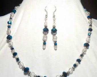 Blue/Purple iridescent Swarovski crystal and silver necklace and earring set