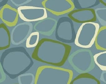 Patchwork fabric Benartex - shape on blue - Modern Mix collection - Coupon 50 by 110 cm