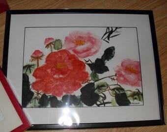 Prix réduit - aquarelle encadrée arbre avec fleurs