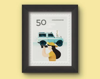 Mini Art Print - Stamp / Johannesburg