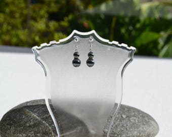 HEMATITE EARRINGS AND SILVER RHODIUM PLATED