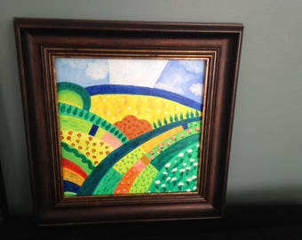 Fields - Oil on canvas 30/30 cm. with  frame