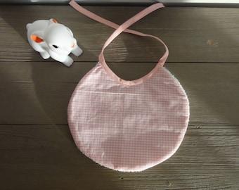 Pink gingham baby bib