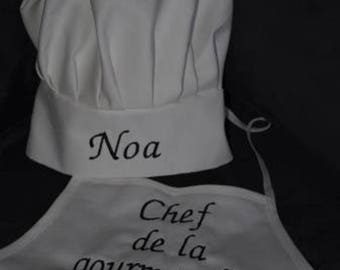 Apron chef for children 2 to 6 years