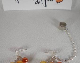 02171 - Ear cuff / Ear cuff gold tone and mother of Pearl orange