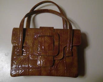 Vintage Brown Patent Leather Purse