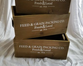 Feed and Grain Packing Co. Solid Wooden Crate. Rustic/Country Decor.  Farm House Decor. Brand New
