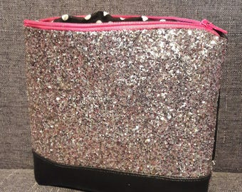 Glitter pink faux leather pouch