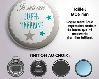 "Mirror, bottle opener or Magnet ""Super godmother"" - Turquoise color"