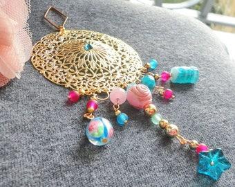 large pendant retro boho, Crystal, gold charm, turquoise, pink vintage glass beads
