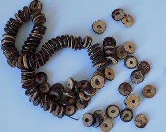 Set of 15 flat natural wood beads