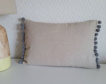 Natural linen blend pom pom cushion cover