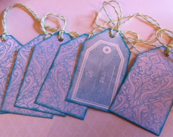 gift tags, Christmas, scrolls, turquoise and white