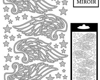 Stickers decal - STI376481 mirrored silver Angel Wings
