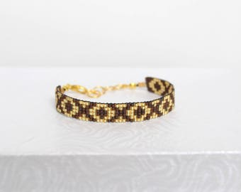 Brown and gold woven bracelet